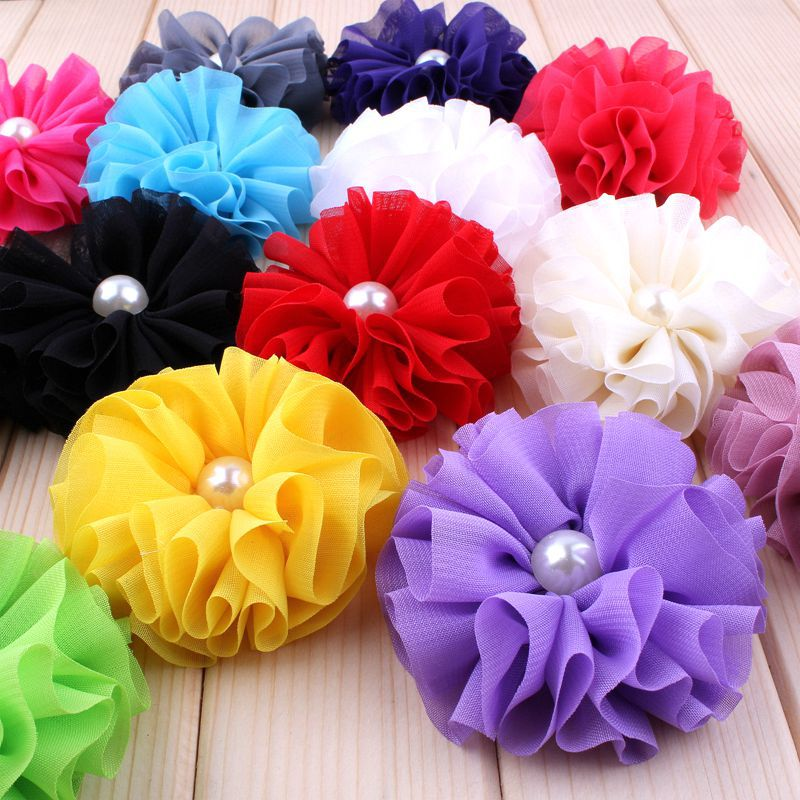 30pcs/lot 6.5cm 15colors Ballerina Chiffon Flower With Pearl For Girls Hair Accessories Artificial Fabric Flowers For Headbands