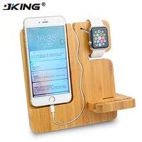 Jking多機能充電スタンドホルダー本竹木材ドッククレードル用iphone 5 s se 6 s 7 8プラスx用アップル時