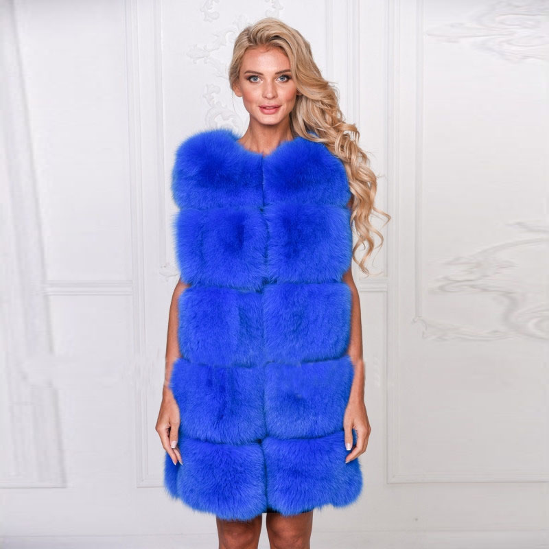TOPFUR Luxury Women Natural Fox Fur Vest Winter Thick Jacket New Full Pelt Genuine Fox Fur Coat Real Fur Plus Size Solid