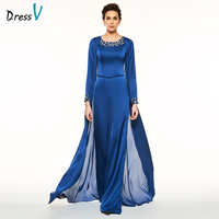 Dressv Blue Mother Of The Bride Suits Pant Jewel Neck Short Sleeves A Line Ankle Length
