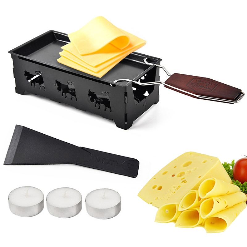 Non-Stick Metal Cheese Raclette Baking Pan Oven Grill Plate Rotaster Tray Stove With Solid Wood Handle Kitchen Baking Tool