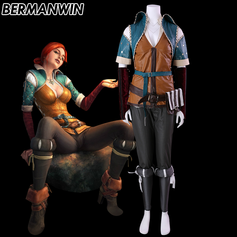 BERMANWIN High Quality The Witcher 3 Wild Hunt Cosplay Adult Triss Merigold Costume Halloween Carnival Women Cosplay Costume