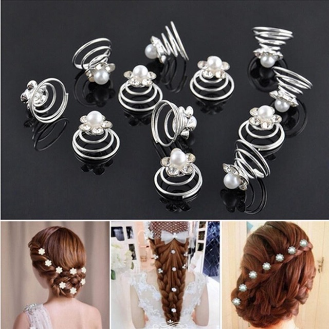 12Pcs/Pack! Princess Crystal Rhinestone Flower Pearl Hair Clips Hairpin for Wome