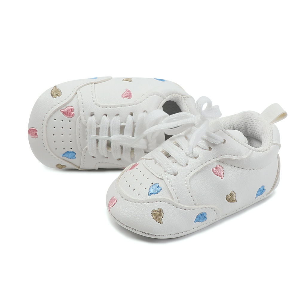 Brand New Star And Heart Embroidered Lace-up Newborn Baby Boy Girl Shoes Infant Toddler Moccasins Non-slip Crib Baby Sneakers