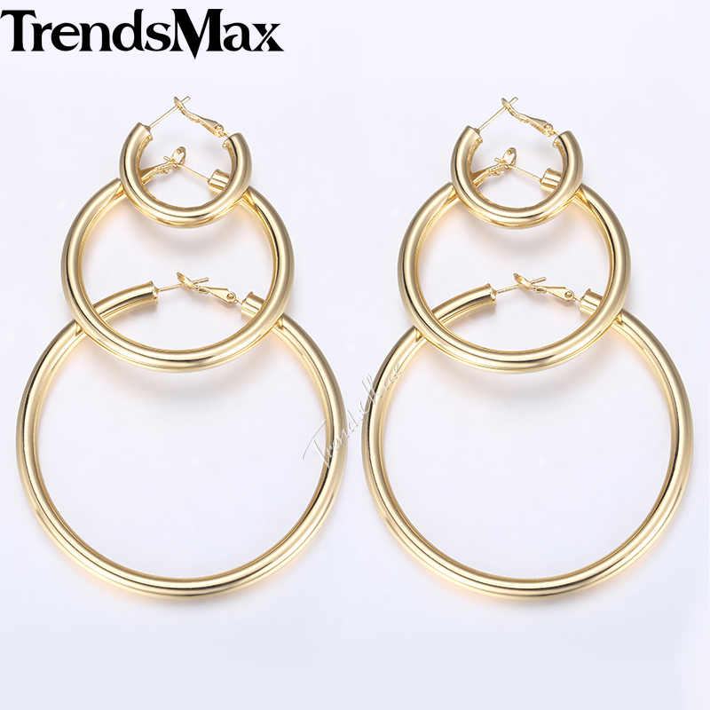 Trendsmax Hoop Earrings For Women Silver Gold Tube Round Circle Womens  Earrings Woman Jewelry Gifts Statement 5mm KGEM18
