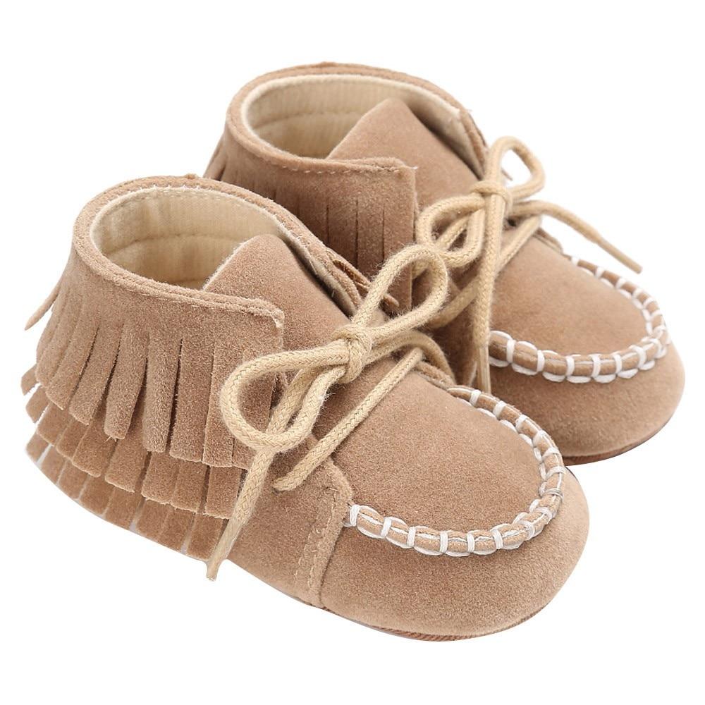 Newborn Baby Boy Girl Fringe Soft Soled Non-slip Footwear Shoes