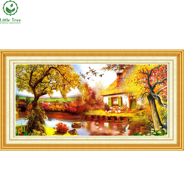 fa4fb2abea Free Shipping NEW DIY 3D Diamond Painting peaceful Trees Lake House  Creative Gift Resin Craft Home