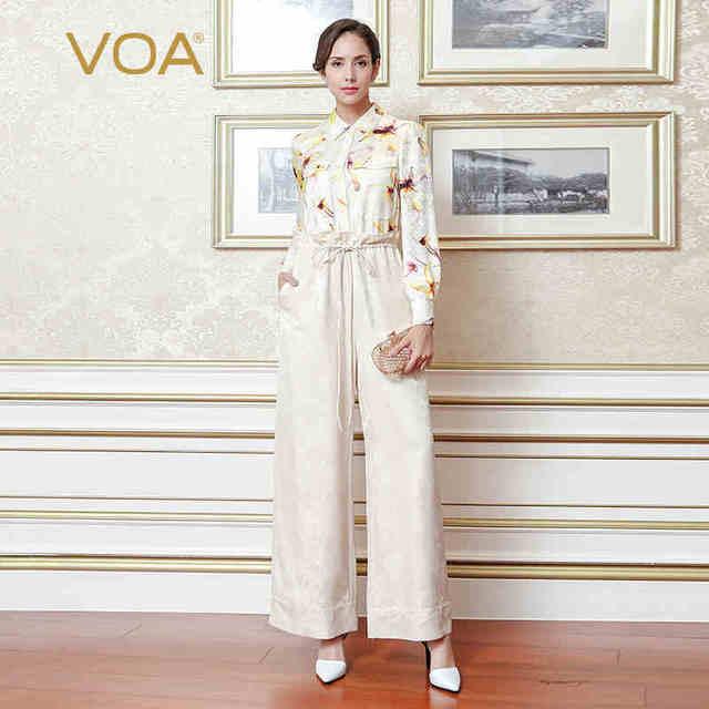 cbd2dc6a70ca VOA 2018 Spring Summer Beige Plus Size Office Lady High Waist Print  Jumpsuits Women Heavy Silk Jacquard Wide Leg Pants KLH03001