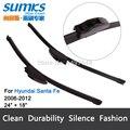 """Limpiaparabrisas cuchillas para Hyundai Santa Fe (2006-2012) 24 """"+ 18"""" estándar fit J gancho brazos del limpiaparabrisas sólo HY-002"""