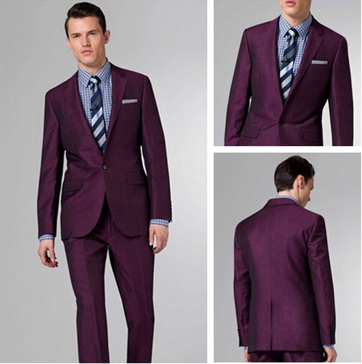 2015 purple custom made slim fit formal tuxedo tailor gentlemen ...