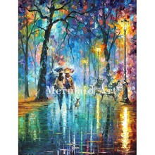Hand Painted Little Friend Colorful Landscape Abstract Palette Knife Modern Oil Painting Canvas Wall Living Room Artwork Fine