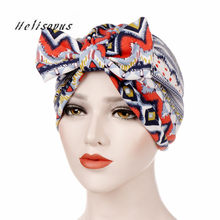 Helisopus Vintage Bandanas New Printed Beanie Bowknot headbands Turban Head Wrap Muslim Hair Accessories for Women(China)