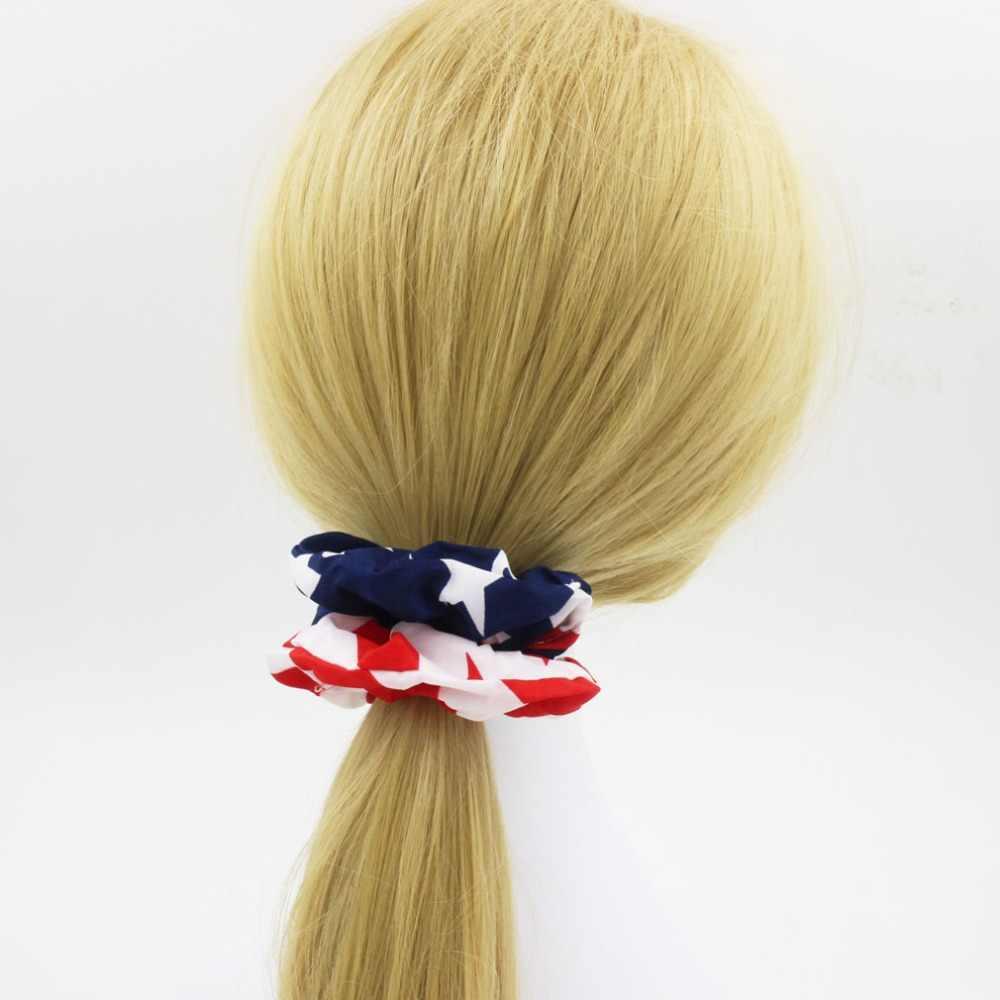 Yeni varış moda kadınlar amerikan bayrağı saç bantları kutlama saç scrunchies kızın saç kravat aksesuarları at kuyruğu tutucu