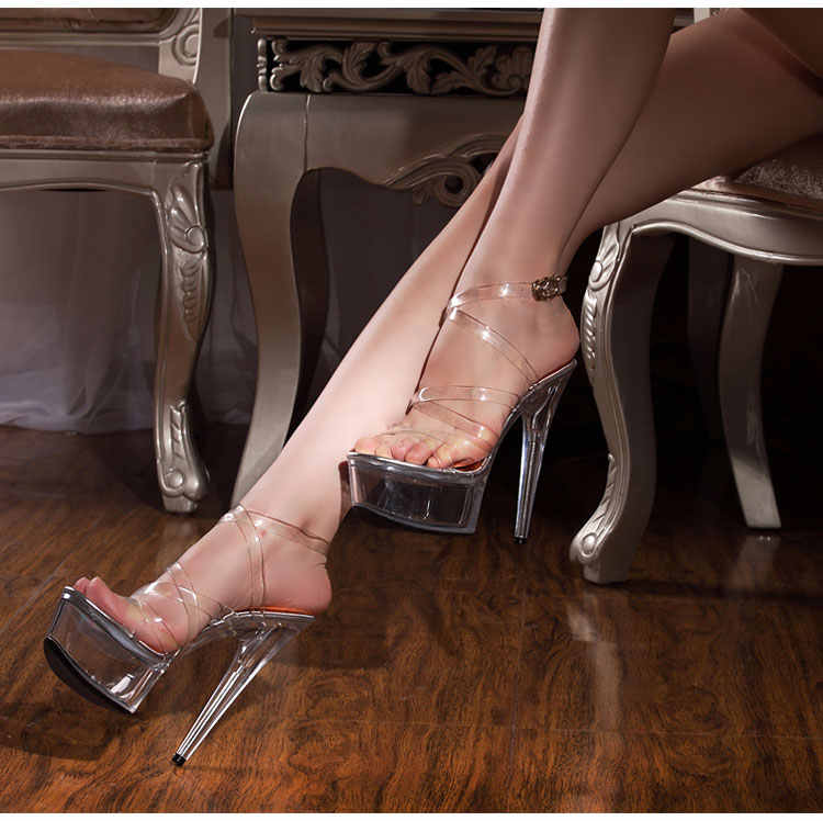 Women Shoes Sandals Platform Transparent Straps Model T Stage Show Thin High-heeled Shoes 15 cm Female Waterproof  Wedding Shoes