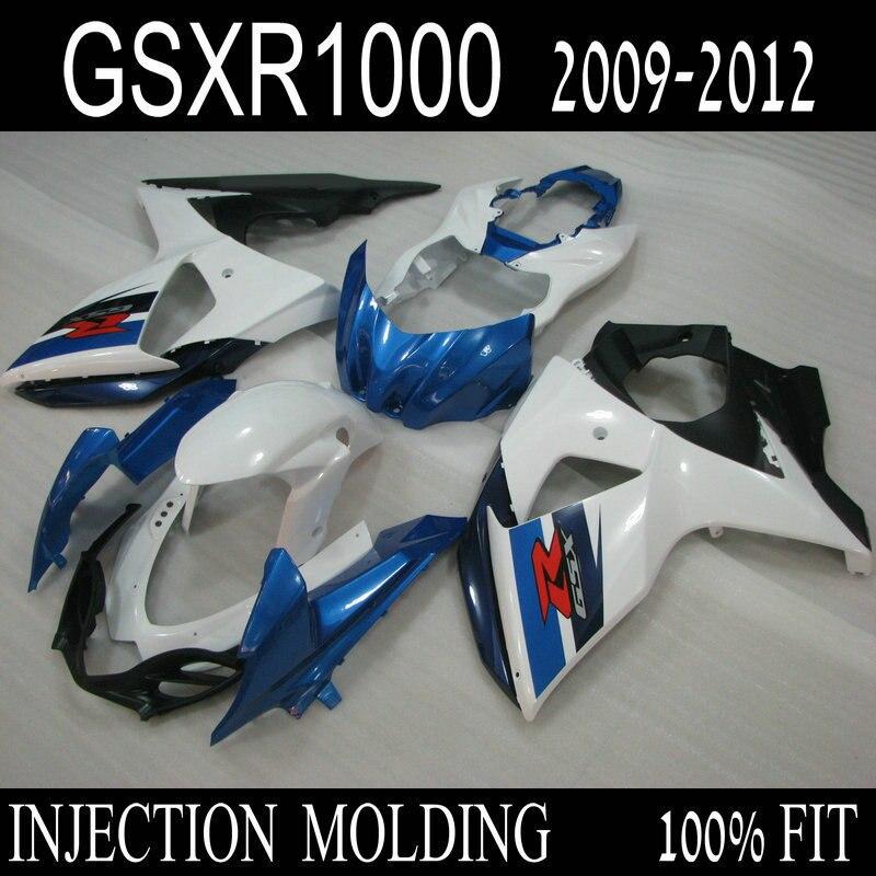 Injection ABS fairing kit for SUZUKI GSXR 1000 2009 2010 2011 2012 blue white black bodywork fairing set K9 GSXR1000 09-12 ML4 motorcycle fairing kit for suzuki gsxr1000 07 08 gsxr 1000 k7 2007 2008 gsxr1000 abs white blue fairings set 7gifts ss01