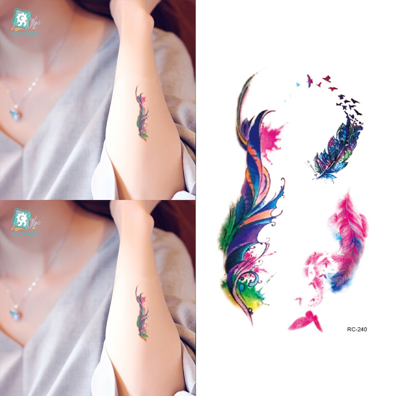 10pcs Waterproof Temporary Tattoos Sleeve Owl Fox Artificial Flowers Tattoo Many Designs Sex Men Beauty Body Art 3d Tatoo 12