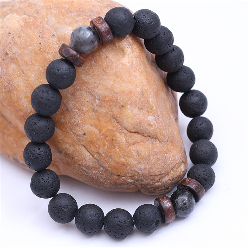 YIZIZAI Natural Lava Rock Stone Beads Strand Bracelet Wooden bead Accessories Black Charm Stone Men Women Jewelry Gift