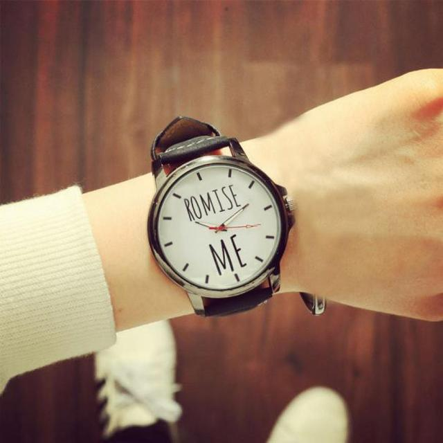 couple watch pair men and women promiss me letter stainless steel leather band c