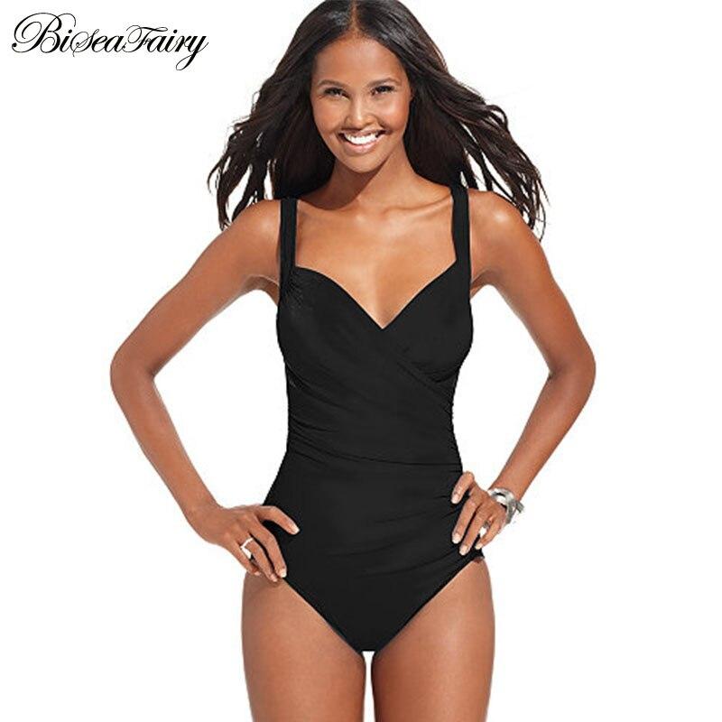 Plus Size Swimwear Women One Piece Swimsuit 2016 Print Solid Swimwear Large Size Vintage Retro Swimsuit Bathing Suits Black 4XL plus size scalloped backless one piece swimsuit