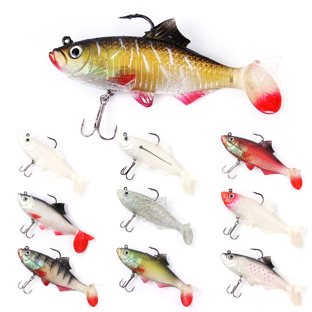 1PC 3D Eyes Lead Fishing Lures With T Tail Soft Fishing Lure Treble Hook Baits Artificial Bait Jig Wobblers Rubber 12.5CM/32G lifelike minnow fishing lure 1pcs 9 5cm 11 2g high quality treble hook artificial hard bait treble hook crankbait with 3d eyes