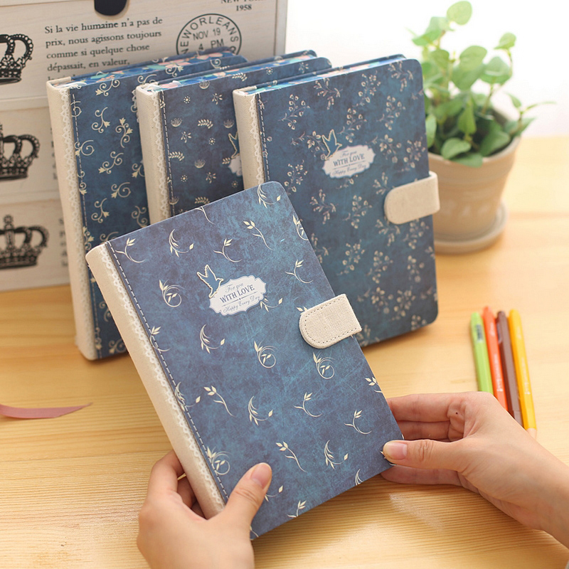 Creative vintage notebook Hard Cover Lined Diary Cute Planner Journal School Study Notebook flower Memo Agenda Notepad Gift
