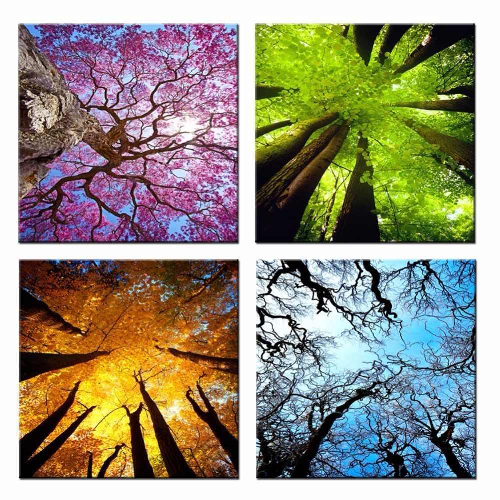 Tuval Duvar Sanati Ilkbahar Yaz Sonbahar Kis Mevsim Manzara Renkli