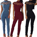 2017 New Womens Choker High Neck Caged Sleeve Playsuit Ladies Jumpsuit Size Women Fashion Bodysuit w0