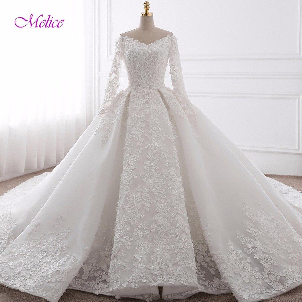 Гламурные Аппликации Часовня Поезд бальное платье свадебное платье 2018 Мода Милая шеи с длинным рукавом Свадебное платье Vestido de Noiva