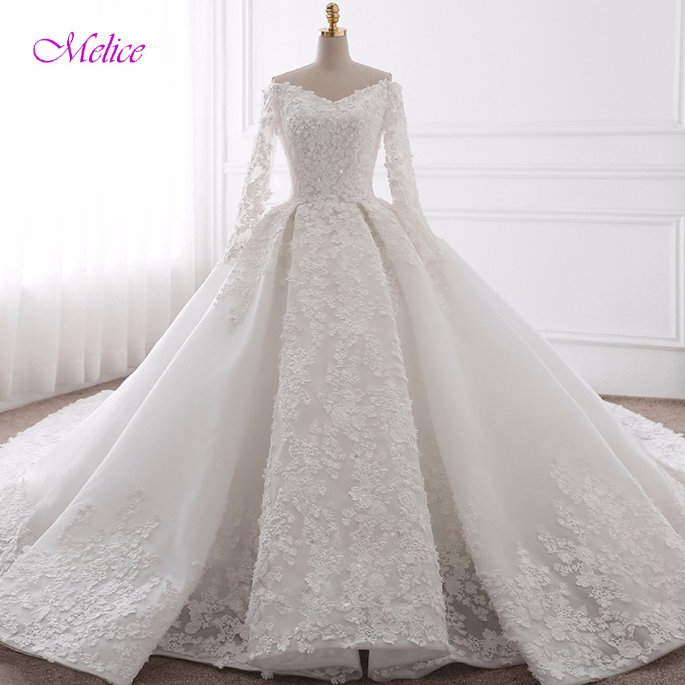 Wedding Gown With Neck Detail: Glamorous Appliques Chapel Train Ball Gown Wedding Dress