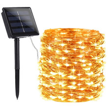 цена на 12/22/32m LED Outdoor Solar Lamp 100/200 LEDs String Lights Fairy Holiday Christmas Party Garland Solar Garden Waterproof Lights