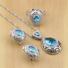 Bridal Jewelry Sets Oval Sky Blue Zircon White CZ Beads Silver 925 Jewelry for Women Earrings Pendant Necklace Rings