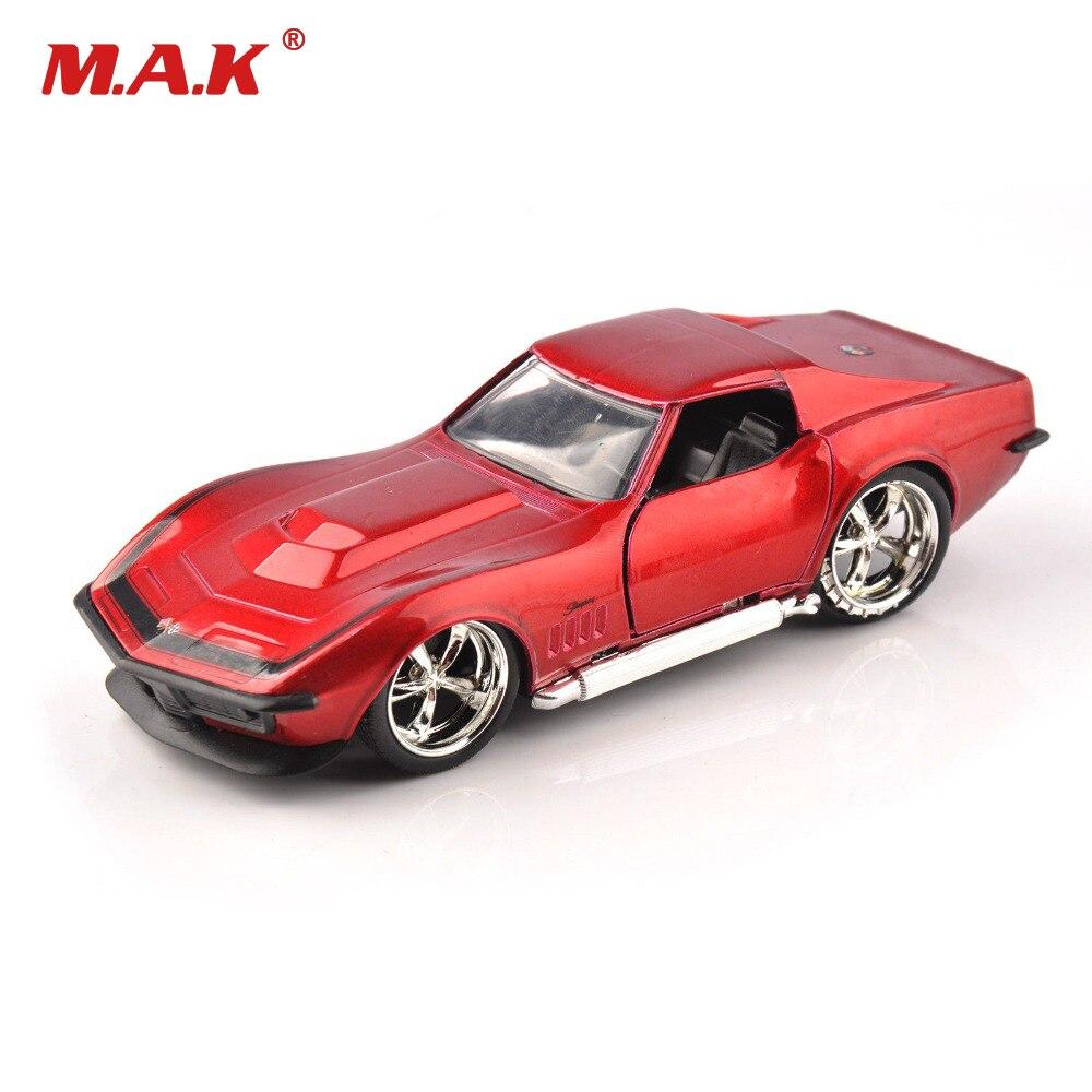 1969 corvette diecast 1/32TH simulación stingray ZL-1 coche rojo clásico JADA juguetes 9851 colección aficiones modelo niños regalo Jada-simulador de Metal clásico, juguete de aleación fundida, coches de juguete clásicos para niños, colección de regalos de cumpleaños 1:24