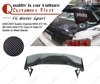 Car Accessories Carbon Fiber VTX Type 2V Style Rear Spoiler w/ Metal Stands Fit For 2002 2007 WRX STI 7th 9th GDA GDB GT Wing