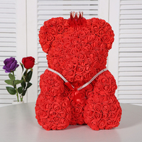 2019 Newest 40cm Big Red Teddy Bear Rose Flower Artificial Christmas Gifts For Women Valentine's Day Gift Birthday Romantic Gift