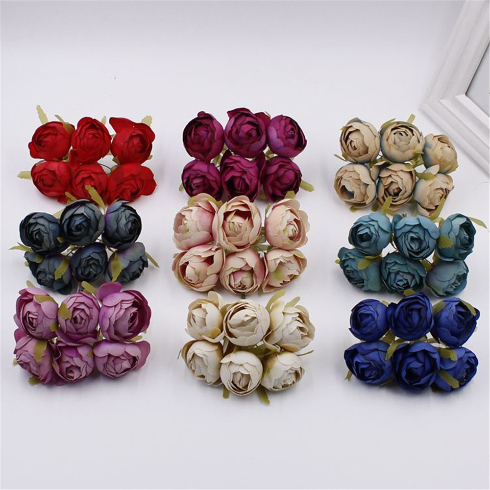 6 Pcs Artificial Flowers Mini Tea Rose Bud For Wedding Home Decoration Jewelry Accessories Fleurs Scrapbooking DIY Craft Supplie