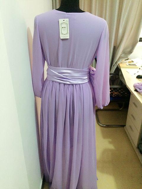 Floor-Length Solid Full Lantern Sleeve Chiffon Long Dress Women Plus Size A-line Pleated Vintage Maxi Wedding Dresses