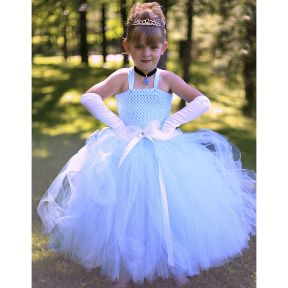 Princess Girl Cinderella Tutu Dress Sky Blue Girls Birthday Party Snow White Cosplay Tutu Dresses For Kids Halloween Photograph girl navy blue princess dress kimono dress cute princess tutu dress