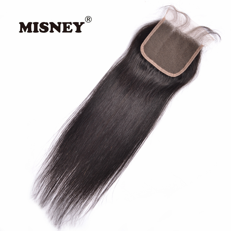 Brazilian Non Remy Hair Lace Closure 4x4 Straight 100% Human Hair Natural Black Color With Baby Hair