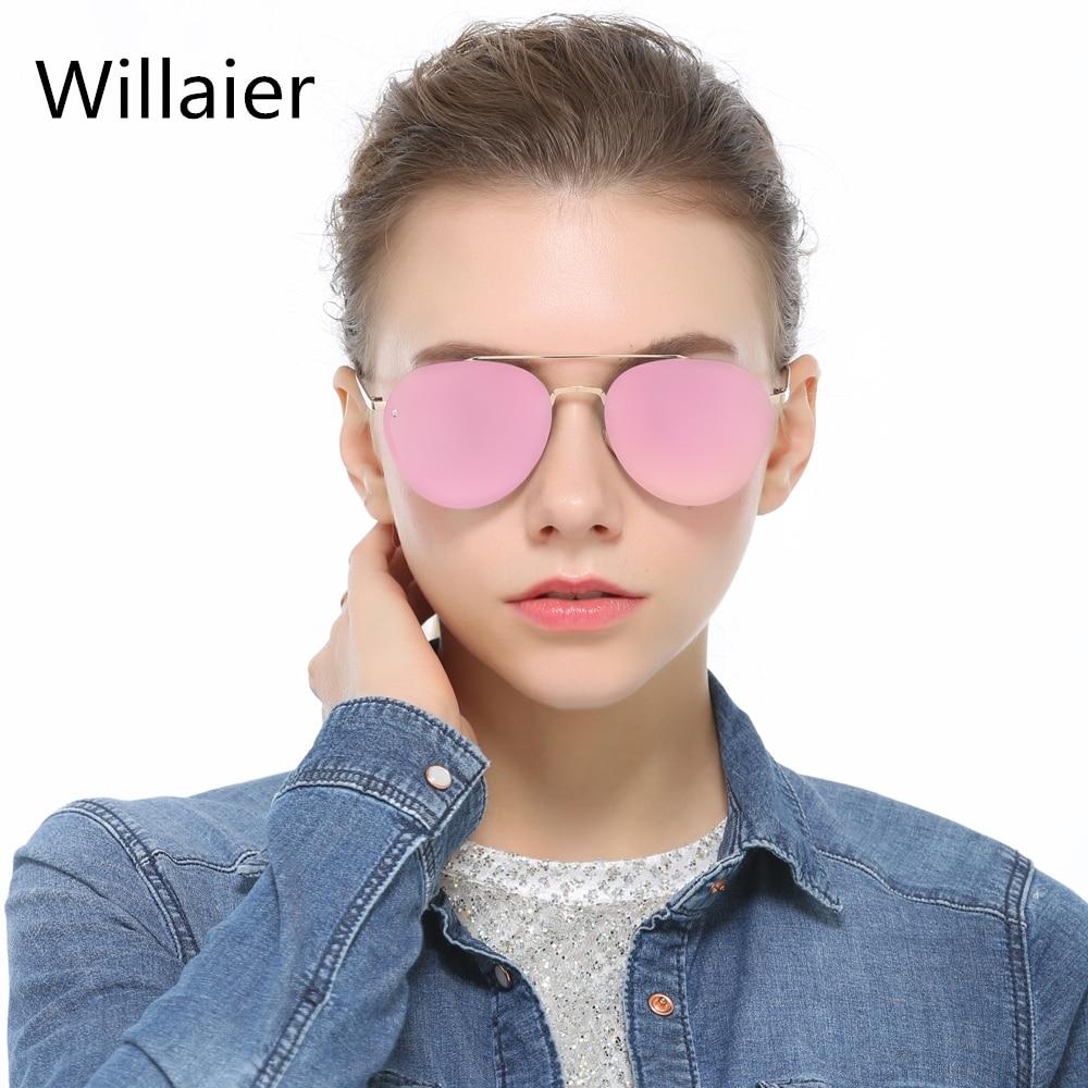 Aviator sunglasses for small face - Willaier New Trendy Women Aviator Sunglasses Small Round Metal Frame Clear Lens Pilot Sun Glasses For
