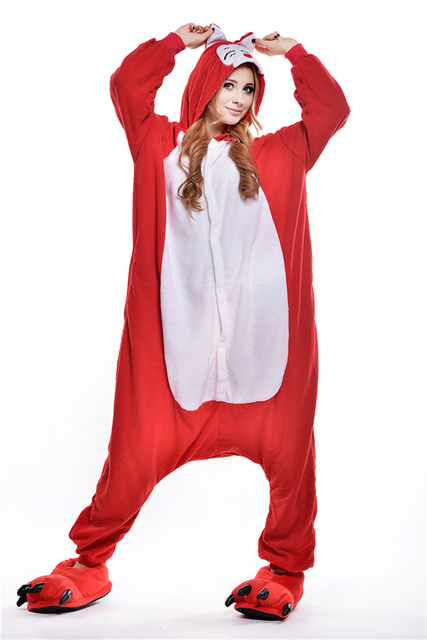 2016 onesies for adults women sleep pajamas lovely red fox animal pajamas one piece pyjama femme. Black Bedroom Furniture Sets. Home Design Ideas