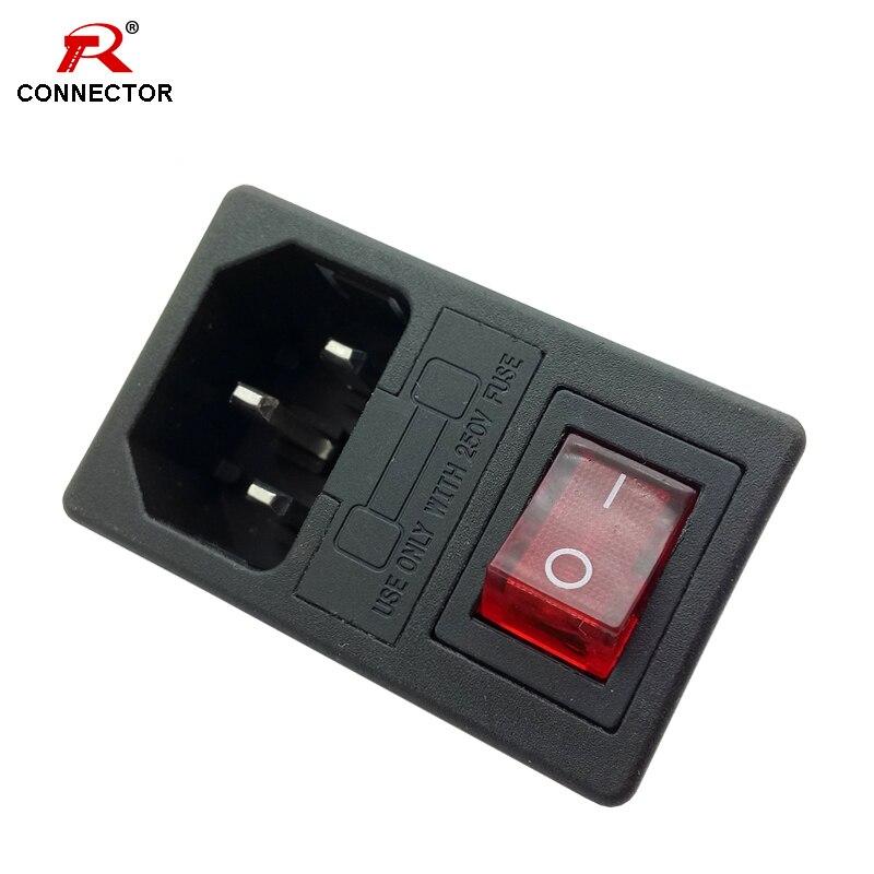 50 pcs interrupteur d'alimentation et connecteur de prise, fusibles 6A/10A 250 V, interrupteurs à bascule, interrupteur avec 3 broches ou 4 broches, adaptateurs d'alimentation à montage sur panneau