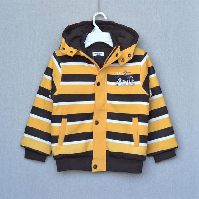Menino listrado com capuz zipper casaco de algodão crianças de algodão acolchoado jaqueta primavera tamanho 100 - 140