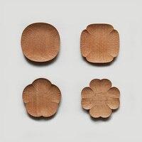 高品質4インチフラワーデザイン木製サービングトレイ用フルーツ寿司dスナック料理とプレートセット送料無料