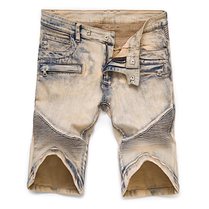 ABOORUN High Quality Fashion Mens Biker Denim   Shorts   Khaki Painted Pleated Motor Jeans   Shorts   Male Brand Clothes YC1243