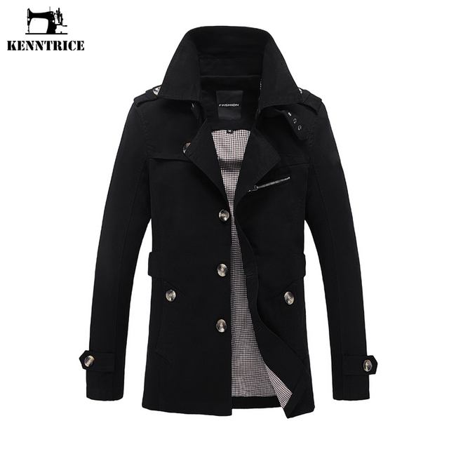 KENNTRICE Men's Windbreaker Mens Long Trench Coat Men Overcoat Windproof Long Coat Male Autumn Coats Male Slim Fit Casual S-5XL