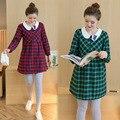 Vestido de embarazada 2016 Otoño Invierno Coreano Vestido de Traje de vestido de Manga Larga Falda de Maternidad Para Las Mujeres Embarazadas