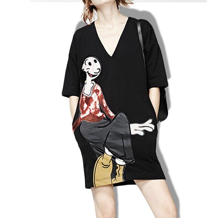 2018 vestido de festa платье V Led Мультфильм Печатных Блесток, рукава, Корейская версия, платья, свободный прокси для женской одежды.
