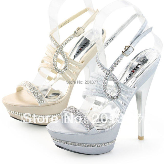 SHOEZY Womens Silver Gold Strappy Diamante high Platform heels ...