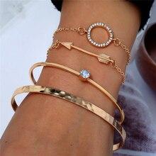 L&H 4PCS/Set Bohemia Style Female Bracelets Set Elegant Gold Open For Women Fashion Shine Rhinestone Bangles