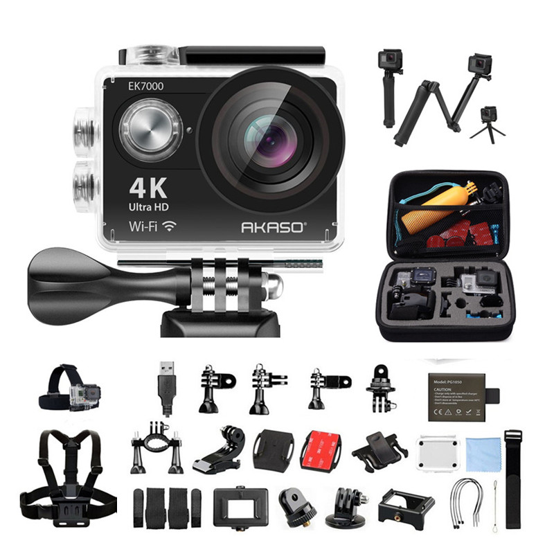 AKASO EK7000 Action camera Ultra HD 4K WiFi 1080P/60fps 2.0 LCD 170D lens Helmet Cam Waterproof Pro Sports Camera akaso ek7000 action camera ultra hd 4k wifi 1080p 60fps 2 0 lcd 170d lens helmet cam waterproof pro sports camera